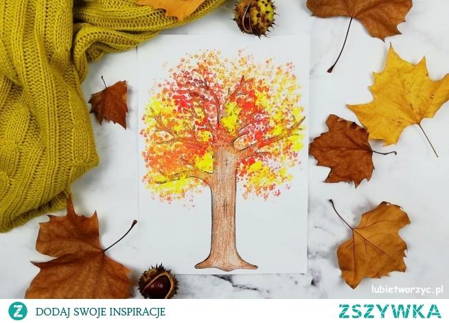 10 pomysłów na stworzenie jesiennych drzew w jednym wpisie wraz z precyzyjnym tutorialem :)   Tu: drzewo stworzone przy użyciu patyczków do uszu :)