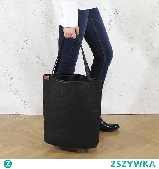 Shopper XL torba czarna z teksturą na zamek