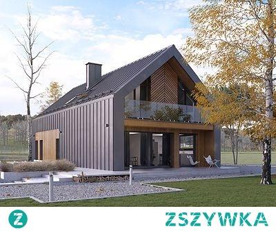 Projekt domu POGODNY - nowoczesna bryła w stylu współczesnej stodoły wykończona blachą i drewnianą elewacją.