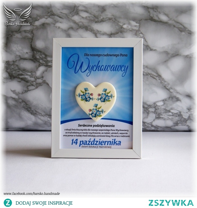 Serce z zimnej porcelany ozdobione metodą decoupage w ramce 13x18