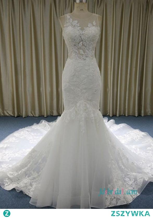 Seksowna gorsetowa koronkowa syrenka z iluzji #weddingdress Model: H0568 (darmowa wysyłka na cały świat) Wyszukaj na stronie numer modelu, link w biografii