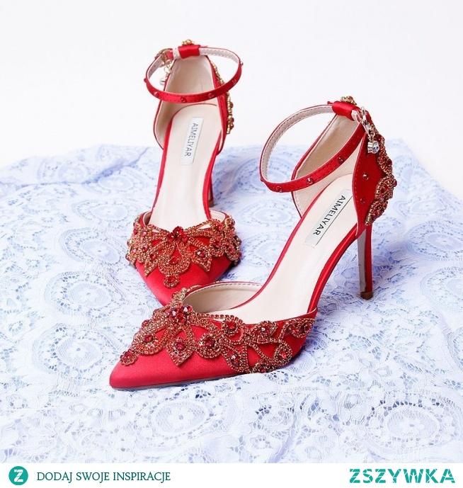 Uroczy Czerwone Buty Ślubne 2020 Satyna Z Paskiem Rhinestone 9 cm Szpilki Szpiczaste Ślub Wysokie Obcasy