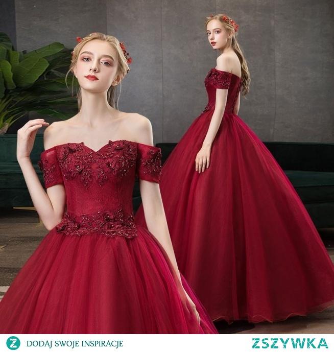 Eleganckie Burgund Sukienki Na Bal 2020 Princessa Przy Ramieniu Frezowanie Kryształ Rhinestone Z Koronki Kwiat Kótkie Rękawy Bez Pleców Długie Sukienki Wizytowe