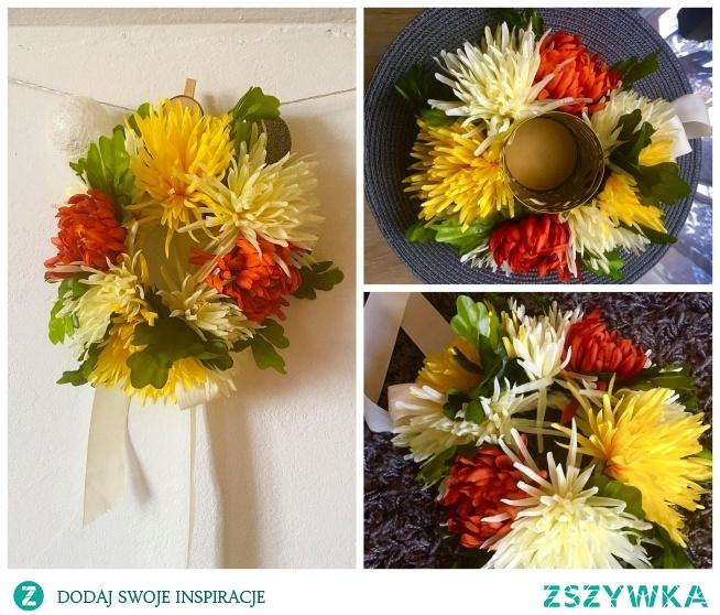 Sztuczne kwiaty, sznurek i wstążka i oto co może powstać ;) Pierwszy wianek