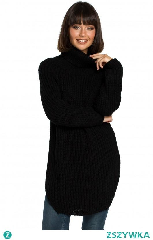 Długi sweter z golfem - czarny (BK-005)