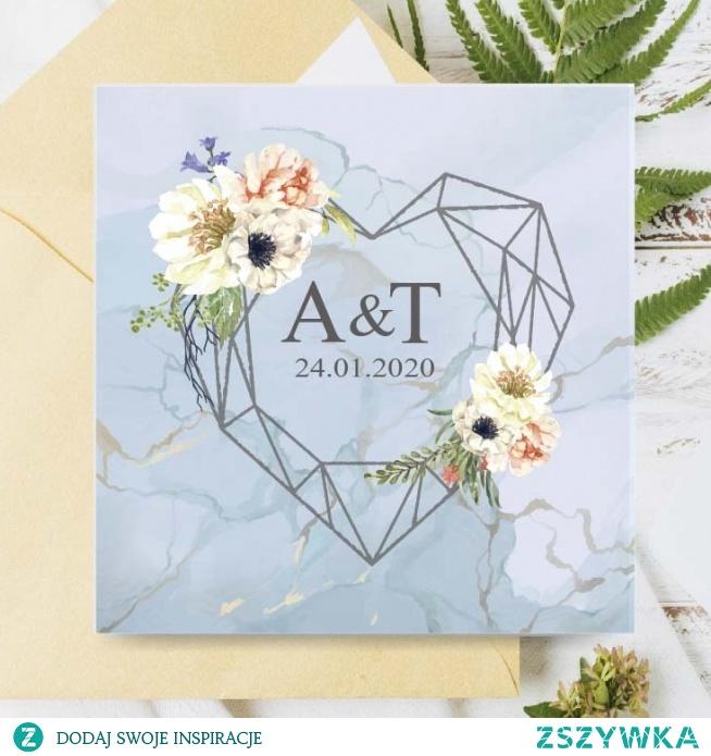 zaproszenia-slubne-anemony-i-serce akwarelowe zaproszenie