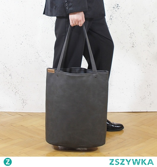 Shopper bag XL grafit na zamek/ torba na codzień