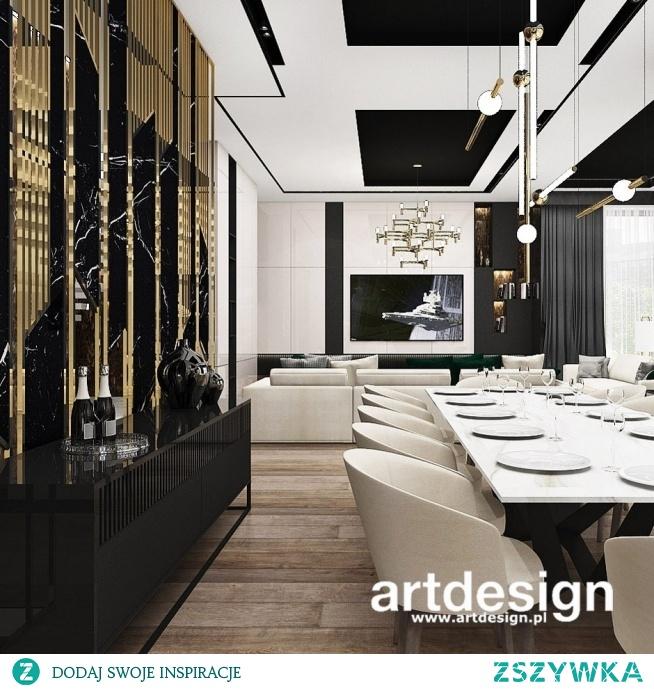 Luksusowa aranżacja jadalni i salonu. Dekoracyjna ażurowa ściana to jeden z najbardziej efektownych elementów tego wnętrza.    PERFECT BALANCE   Wnętrza rezydencji