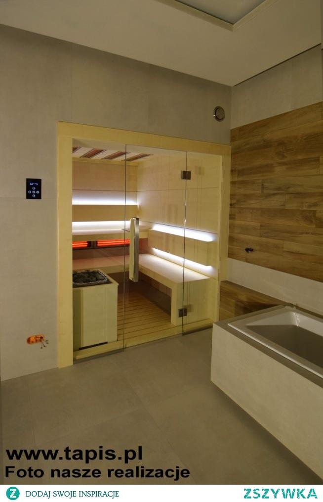 Sauna MODERN w wersji bezprogowej o wymiarach 200x250cm. Nowoczesna sauna w łazience. Producent TAPIS.PL
