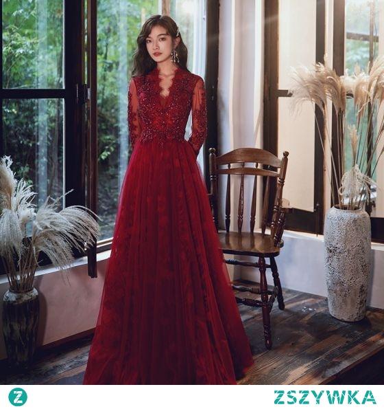 Eleganckie Burgund Sukienki Wieczorowe 2020 Princessa V-Szyja Frezowanie Cekiny Z Koronki Kwiat Długie Rękawy Bez Pleców Długie Sukienki Wizytowe