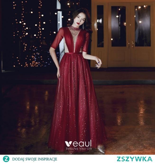 Moda Burgund Sukienki Wieczorowe 2020 Princessa Wysokiej Szyi Frezowanie Gwiazda Cekiny 1/2 Rękawy Bez Pleców Długie Sukienki Wizytowe