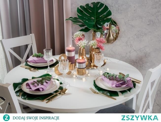Kolejna tym razem skromniejsza propozycja dekoracji stołu weselnego