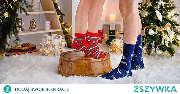Skarpety świąteczne męskie - Renifery i choinka