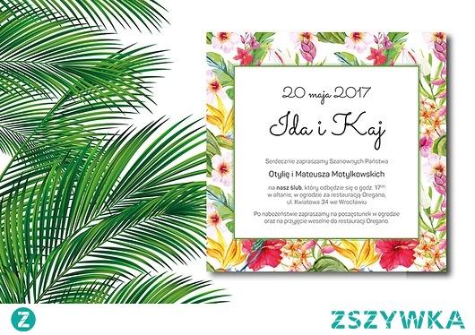 zaproszenia ślubne. egzotyczne z hibiskusem