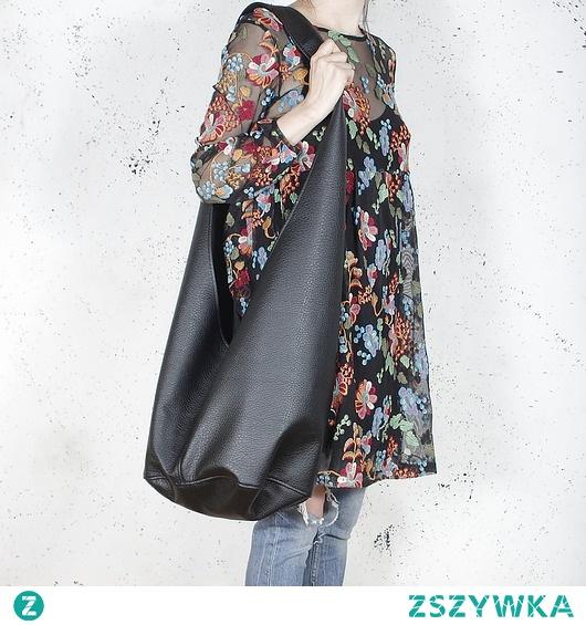Long Boogi Bag czarna teksturowana / hobo