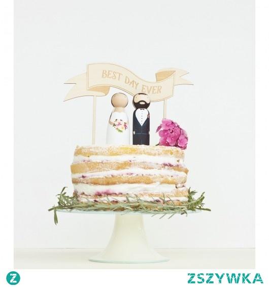 Drewniane figurki na tort z topperem wstęgą