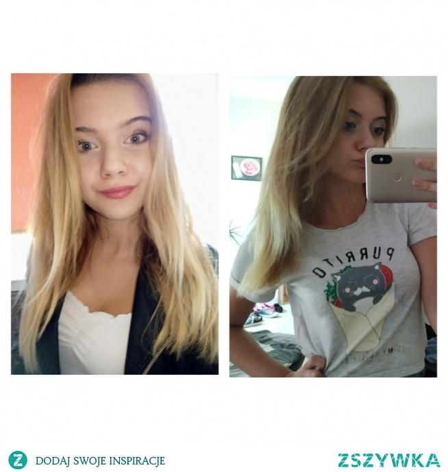 """Hej, hej :). Patrząc na te zdjęcia, zauważyłam różnicę w długości włosów i powiem, że jestem pozytywnie zaskoczona, na lewo zdjęcie z dzisiaj a na prawo z przed miesiąca. Swoją drogą polecam maskę """"hair food"""" od Garniera oraz olejki z alterra! Generalnie, to dzięki tym produktom moje włosy nie są już szorstkie i suche, tylko miękkie i lśniące. A wy polecacie jakieś skuteczne produkty do włosów? Piszcie ;)"""
