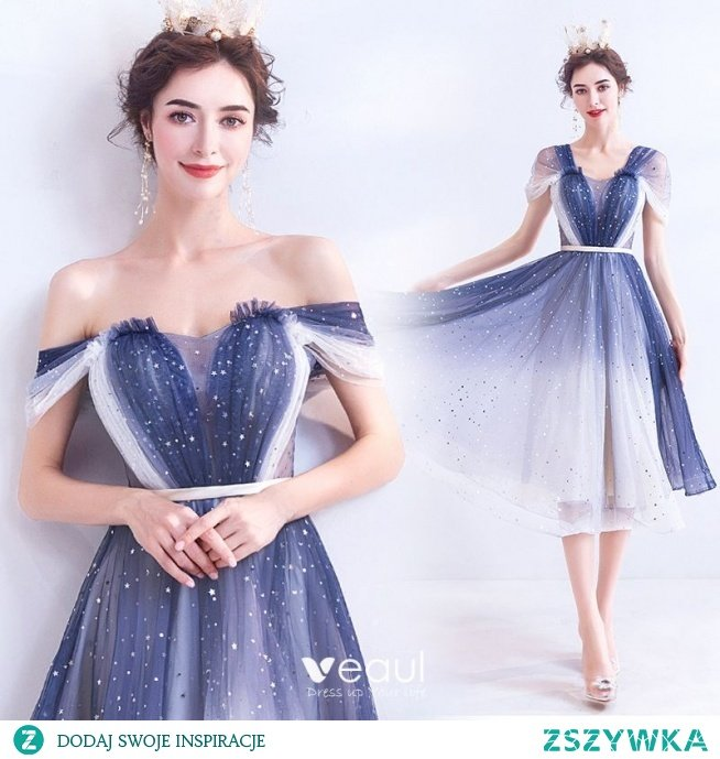 Moda Ciemnoniebieski Kość Słoniowa Gradient-Kolorów Sukienki Koktajlowe 2020 Princessa Przy Ramieniu Kótkie Rękawy Bez Pleców Długość do kolan Sukienki Wizytowe