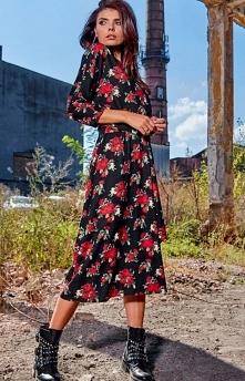 Sukienka midi w kwiaty Awam...