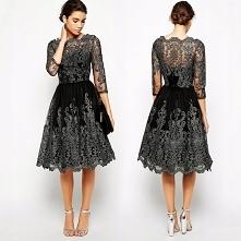 Elegancka, bogato zdobiona, stylowa sukienka midi. --> sprawdź klikając w ...