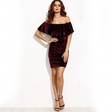 Welurowa, bordowa sukienka carmen. --> sprawdź klikając w obrazek