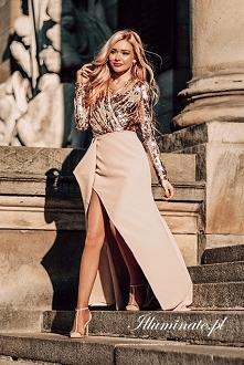 Cekinowa, długa sukienka na...