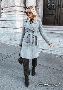 Zimowy ocieplany płaszcz z ...