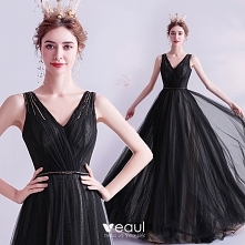 Piękne Czarne Sukienki Wieczorowe 2020 Princessa V-Szyja Frezowanie Kryształ ...