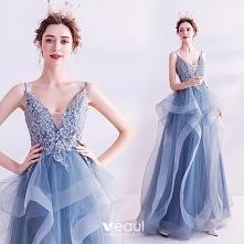 Eleganckie Niebieskie Sukie...