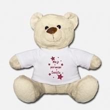 Śliczny miś pluszak na pierwsze urodziny twojego dziecka. Będzie cudną pamiątką gdy niemowlę już podrośnie. Wzór: Moje pierwsze święta.