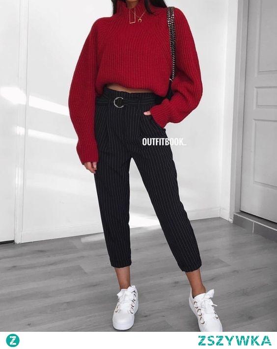 Jesienna stylówka z czerwonym swetrem