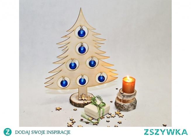 świąteczne dekoracje choinka drewniana ozdobna