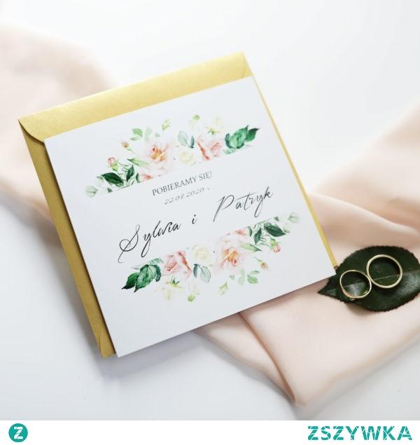 eleganckie kwiatowe zaproszenie ślubne, oryginalne i nie powtarzalne, Zaproszenia NAVI