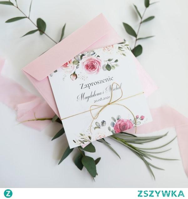 Zaproszenia NAVI, oryginalne zaproszenia z dodatkiem złotego sznurka i elegancką kompozycją kwiatową, zaproszenia navi