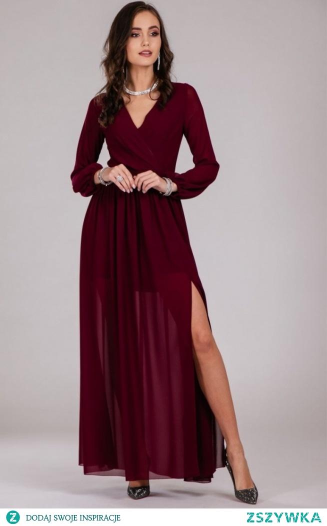 Roco Wieczorowa sukienka maxi bordowa 0257