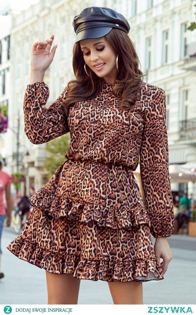 Numoco Sukienka w panterkę Romi 285-1