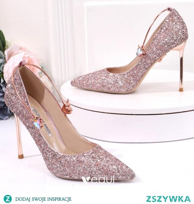 Błyszczące Srebrny Buty Ślubne 2020 Cekiny 10 cm Szpilki Szpiczaste Ślub Czółenka