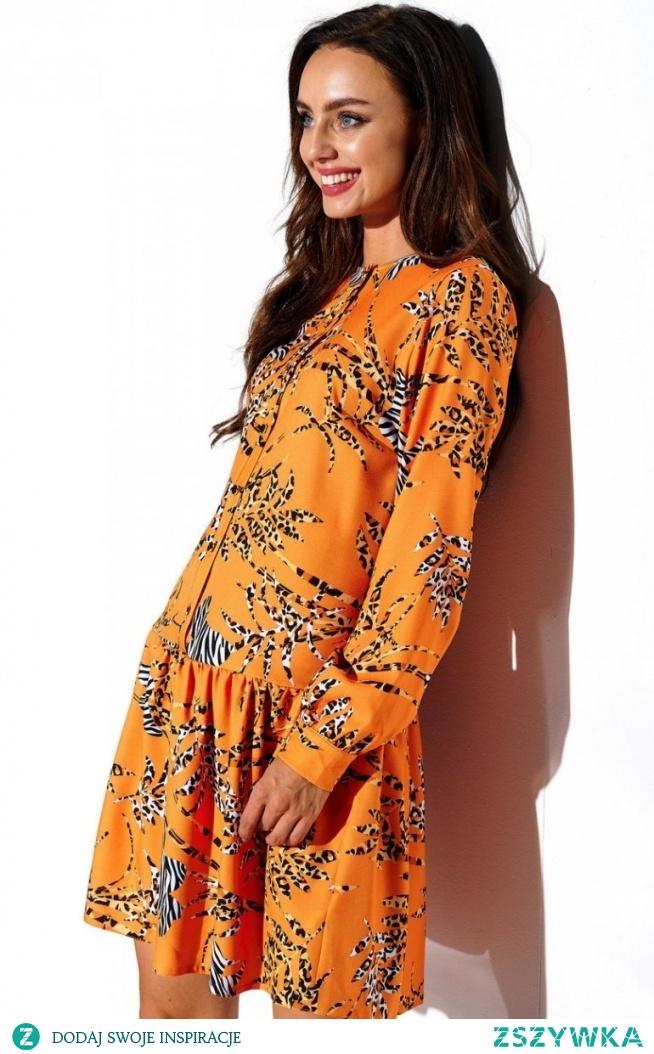 Lemoniade Koszulowa sukienka w kolorowe wzory L311/D8