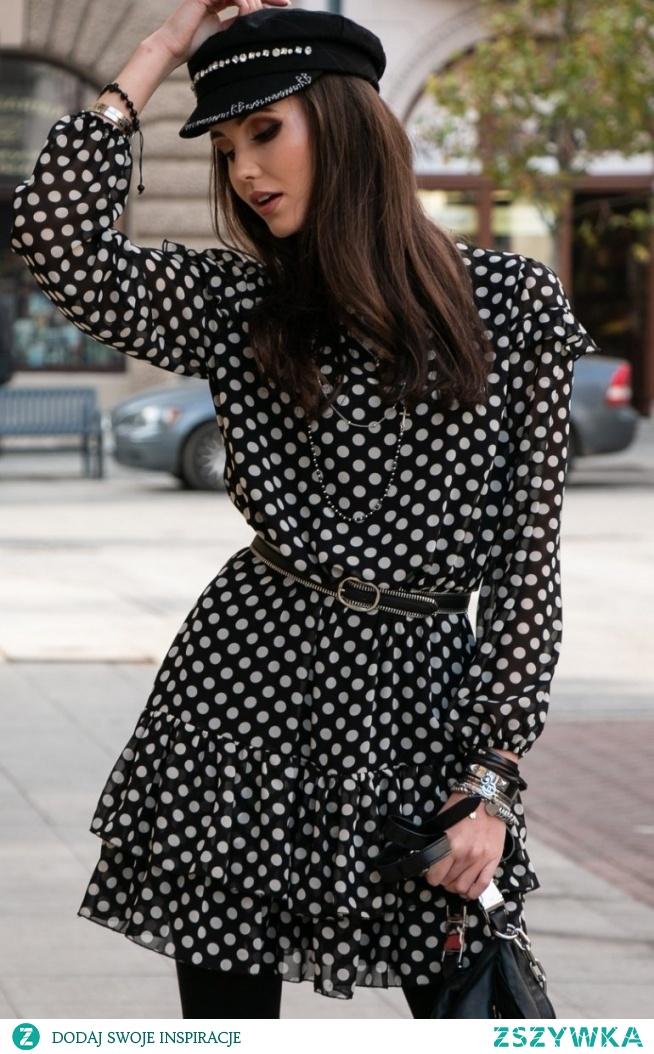 Roco Szyfonowa sukienka w groszki 259/D89