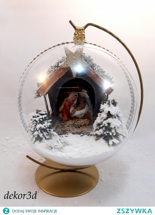 Bombka 3d z szopką Boże Narodzenie. Szopka wykonana ręcznie. Zapraszam do sklepu :)