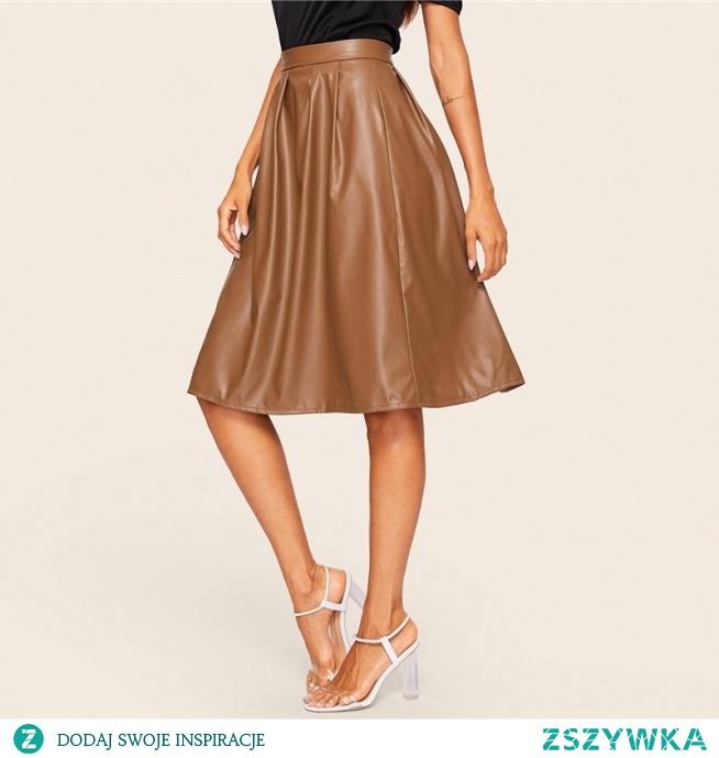 Brązowa spódnica z eko skóry, kliknij w zdjęcie i sprawdź gdzie ją kupić :)
