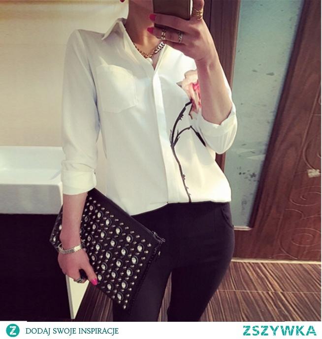 Biała elegancka koszula z printem, róża. --> sprawdź