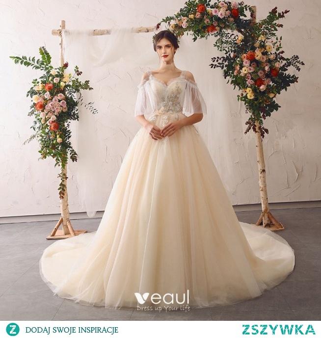Uroczy Szampan Suknie Ślubne 2020 Princessa V-Szyja Frezowanie Z Koronki Kwiat Aplikacje Wzburzyć Rękawy z dzwoneczkami Bez Pleców Trenem Katedra