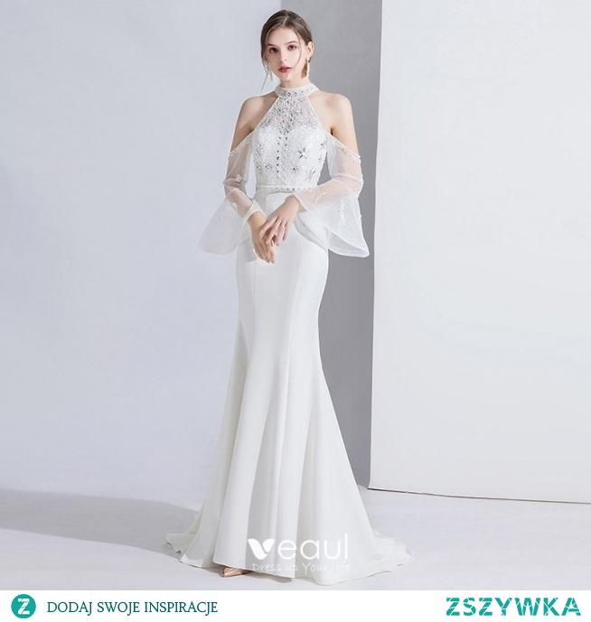 Moda Białe Sukienki Wieczorowe 2020 Syrena / Rozkloszowane Frezowanie Rhinestone Cekiny Z Koronki Kwiat Wysokiej Szyi Rękawy z dzwoneczkami Trenem Sweep Sukienki Wizytowe