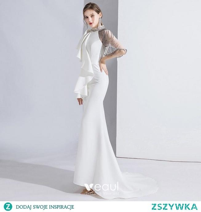 Moda Białe Sukienki Wieczorowe 2020 Syrena / Rozkloszowane Wycięciem Frezowanie Kótkie Rękawy Trenem Sweep Sukienki Wizytowe