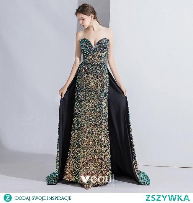 Wysokiej Klasy Multi-Kolory Sukienki Wieczorowe 2020 Syrena / Rozkloszowane Bez Ramiączek Frezowanie Cekiny Bez Rękawów Bez Pleców Trenem Sweep Sukienki Wizytowe