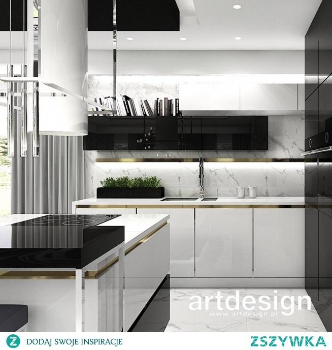 Elegancka nowoczesna kuchnia: biało-czarna, z detalami w kolorze złotym. | LISTEN TO MY HEARTBEAT | Wnętrza domu