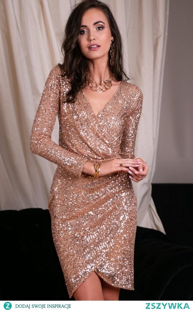 Roco Wieczorowa sukienka cekinowa beżowa 0265