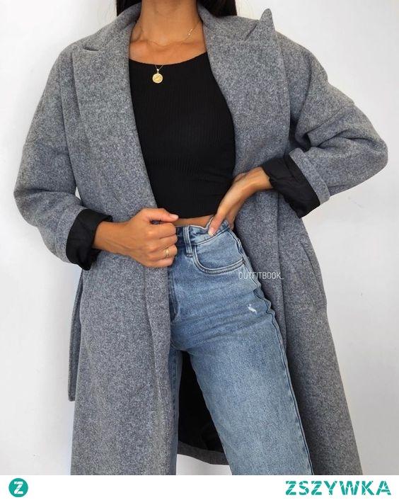 Jesienna stylizacja z szarym płaszczem
