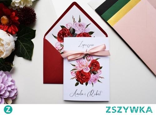 Zaproszenie ślubne - Czerwień i Róż